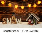 christmas decorations on a... | Shutterstock . vector #1245860602