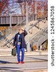 handsome man in his 50s waiting ... | Shutterstock . vector #1245867058