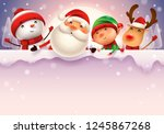 happy christmas companions with ... | Shutterstock . vector #1245867268