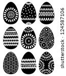 Set Of Black Easter Eggs With...