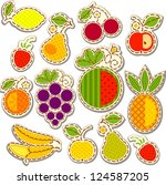 set fruit and berry  decorated... | Shutterstock .eps vector #124587205