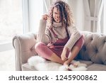 hipster teenage girl with curly ... | Shutterstock . vector #1245900862