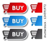 vector sticker  shopping cart ... | Shutterstock .eps vector #124591972