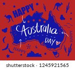 happy australia day with map... | Shutterstock .eps vector #1245921565