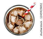 cola with ice and drinking... | Shutterstock . vector #1245925852
