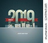 happy new year 2019 in town.... | Shutterstock .eps vector #1245965185