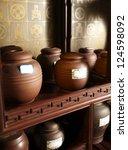 tea jars on the shelf