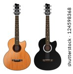two acoustic guitars on a white ... | Shutterstock .eps vector #124598368