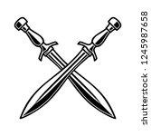 crossed medieval swords on... | Shutterstock .eps vector #1245987658