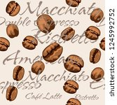 repeating coffee bean pattern... | Shutterstock .eps vector #1245992752