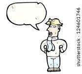 cartoon blond man in scarf | Shutterstock .eps vector #124601746