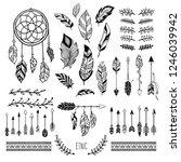 Boho Art. Tribal Arrow Feather  ...