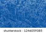wire frame city  blueprint... | Shutterstock . vector #1246059385