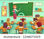 classroom with kids. teacher or ... | Shutterstock . vector #1246071025