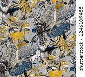 summer exotic seamless pattern. ... | Shutterstock . vector #1246109455