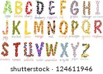 school alphabetical letters... | Shutterstock .eps vector #124611946