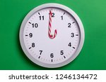 christmas clock with candy cane ... | Shutterstock . vector #1246134472