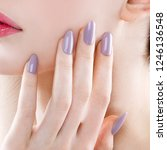 a woman's nail  designed with... | Shutterstock . vector #1246136548