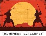 silhouette of two japanese... | Shutterstock .eps vector #1246238485