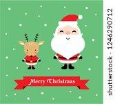 cute santa claus and reindeer... | Shutterstock .eps vector #1246290712