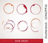 red wine stain over gray... | Shutterstock .eps vector #124629916