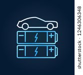 car with blue batteries line...