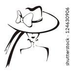 Sketch Of Elegant Woman In Hat...