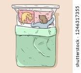girl sleeping peacefully in her ...   Shutterstock .eps vector #1246317355