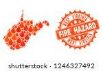 fire hazard collage of map of... | Shutterstock .eps vector #1246327492