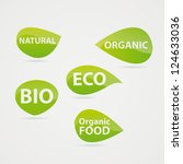 green leaves stickers on the... | Shutterstock .eps vector #124633036