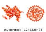 fire hazard collage of map of... | Shutterstock .eps vector #1246335475