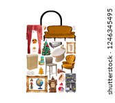 poster of shop bag combined of... | Shutterstock . vector #1246345495