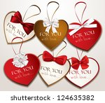 holiday heart shaped cards with ... | Shutterstock .eps vector #124635382
