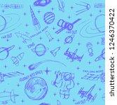 space doodle illustration....   Shutterstock . vector #1246370422