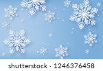 christmas card with paper cut ... | Shutterstock .eps vector #1246376458