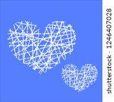 white hand drawn heart.   Shutterstock .eps vector #1246407028