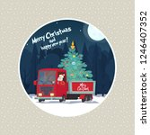 santa claus is a truck driver... | Shutterstock .eps vector #1246407352