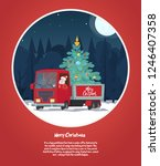 santa claus is a truck driver... | Shutterstock .eps vector #1246407358