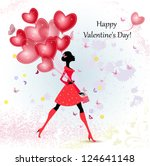 card design girl with valentine'... | Shutterstock .eps vector #124641148
