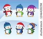 christmas penguins vector | Shutterstock .eps vector #1246420258