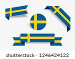 swedish flag stickers and... | Shutterstock .eps vector #1246424122
