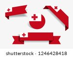 tonga flag stickers and labels...   Shutterstock .eps vector #1246428418
