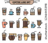 various coffee and tea cups... | Shutterstock .eps vector #1246445398