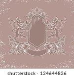 heraldic emblem and a shield... | Shutterstock . vector #124644826