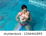 baby with mom learns to swim in ... | Shutterstock . vector #1246461895
