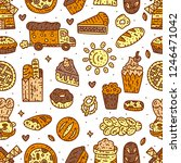bakery vector hand drawn line... | Shutterstock .eps vector #1246471042