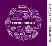 fresh bread. circle vector... | Shutterstock .eps vector #1246471048