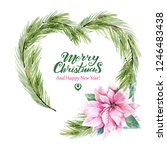 watercolor heart with christmas ... | Shutterstock . vector #1246483438