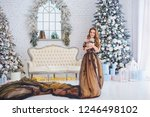 beautiful young girl with long... | Shutterstock . vector #1246498102