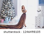beautiful young girl with long... | Shutterstock . vector #1246498105
